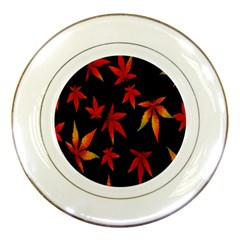 Colorful Autumn Leaves On Black Background Porcelain Plates by Amaryn4rt