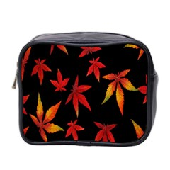 Colorful Autumn Leaves On Black Background Mini Toiletries Bag 2 Side by Amaryn4rt