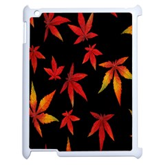 Colorful Autumn Leaves On Black Background Apple Ipad 2 Case (white) by Amaryn4rt