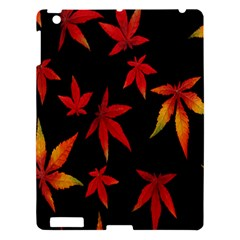 Colorful Autumn Leaves On Black Background Apple Ipad 3/4 Hardshell Case by Amaryn4rt
