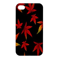 Colorful Autumn Leaves On Black Background Apple Iphone 4/4s Premium Hardshell Case by Amaryn4rt
