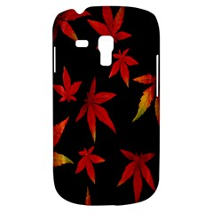 Colorful Autumn Leaves On Black Background Galaxy S3 Mini by Amaryn4rt