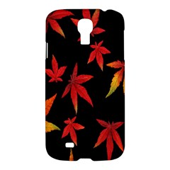 Colorful Autumn Leaves On Black Background Samsung Galaxy S4 I9500/i9505 Hardshell Case by Amaryn4rt
