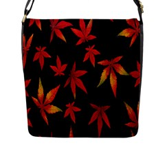 Colorful Autumn Leaves On Black Background Flap Messenger Bag (l)  by Amaryn4rt