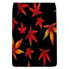 Colorful Autumn Leaves On Black Background Flap Covers (l)  by Amaryn4rt