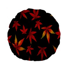 Colorful Autumn Leaves On Black Background Standard 15  Premium Flano Round Cushions by Amaryn4rt