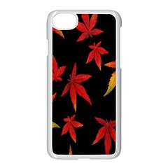 Colorful Autumn Leaves On Black Background Apple Iphone 7 Seamless Case (white)