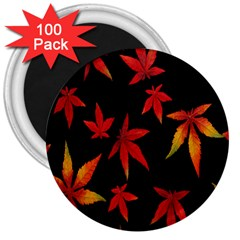 Colorful Autumn Leaves On Black Background 3  Magnets (100 Pack) by Amaryn4rt