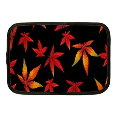 Colorful Autumn Leaves On Black Background Netbook Case (medium)  by Amaryn4rt