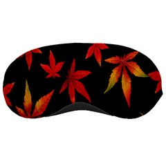 Colorful Autumn Leaves On Black Background Sleeping Masks by Amaryn4rt