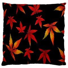 Colorful Autumn Leaves On Black Background Large Cushion Case (one Side) by Amaryn4rt