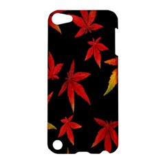 Colorful Autumn Leaves On Black Background Apple Ipod Touch 5 Hardshell Case by Amaryn4rt