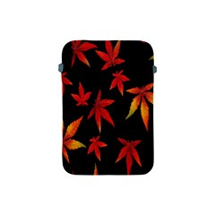 Colorful Autumn Leaves On Black Background Apple Ipad Mini Protective Soft Cases by Amaryn4rt