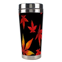 Colorful Autumn Leaves On Black Background Stainless Steel Travel Tumblers by Amaryn4rt
