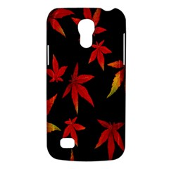 Colorful Autumn Leaves On Black Background Galaxy S4 Mini by Amaryn4rt