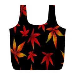 Colorful Autumn Leaves On Black Background Full Print Recycle Bags (l)  by Amaryn4rt