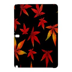 Colorful Autumn Leaves On Black Background Samsung Galaxy Tab Pro 12 2 Hardshell Case by Amaryn4rt