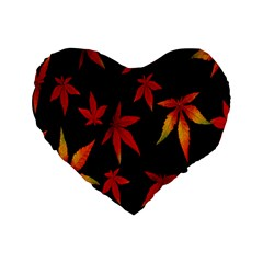 Colorful Autumn Leaves On Black Background Standard 16  Premium Flano Heart Shape Cushions by Amaryn4rt