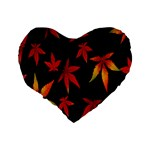 Colorful Autumn Leaves On Black Background Standard 16  Premium Flano Heart Shape Cushions Back