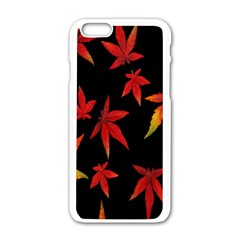 Colorful Autumn Leaves On Black Background Apple Iphone 6/6s White Enamel Case by Amaryn4rt