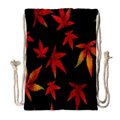 Colorful Autumn Leaves On Black Background Drawstring Bag (large) by Amaryn4rt