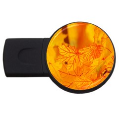 Bright Yellow Autumn Leaves Usb Flash Drive Round (4 Gb)