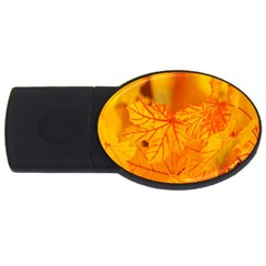 Bright Yellow Autumn Leaves Usb Flash Drive Oval (4 Gb) by Amaryn4rt