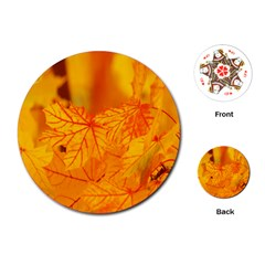 Bright Yellow Autumn Leaves Playing Cards (round)  by Amaryn4rt