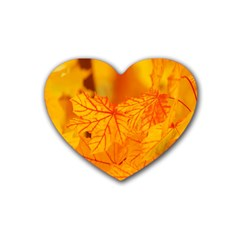 Bright Yellow Autumn Leaves Heart Coaster (4 Pack)  by Amaryn4rt