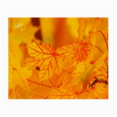Bright Yellow Autumn Leaves Small Glasses Cloth (2 Side) by Amaryn4rt