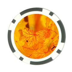 Bright Yellow Autumn Leaves Poker Chip Card Guard (10 Pack) by Amaryn4rt