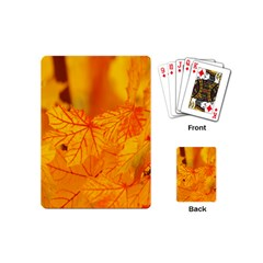 Bright Yellow Autumn Leaves Playing Cards (mini)  by Amaryn4rt