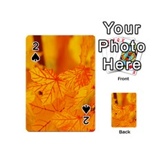 Bright Yellow Autumn Leaves Playing Cards 54 (mini)  by Amaryn4rt