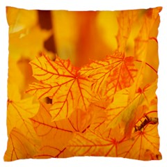 Bright Yellow Autumn Leaves Large Cushion Case (one Side) by Amaryn4rt