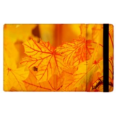 Bright Yellow Autumn Leaves Apple Ipad 3/4 Flip Case by Amaryn4rt