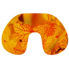 Bright Yellow Autumn Leaves Travel Neck Pillows by Amaryn4rt