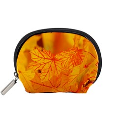 Bright Yellow Autumn Leaves Accessory Pouches (small)  by Amaryn4rt