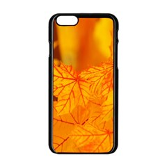 Bright Yellow Autumn Leaves Apple Iphone 6/6s Black Enamel Case by Amaryn4rt