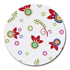 Colorful Floral Wallpaper Background Pattern Round Mousepads by Amaryn4rt