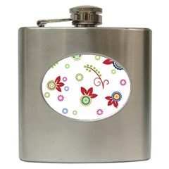 Colorful Floral Wallpaper Background Pattern Hip Flask (6 Oz) by Amaryn4rt