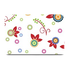 Colorful Floral Wallpaper Background Pattern Plate Mats by Amaryn4rt