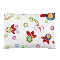 Colorful Floral Wallpaper Background Pattern Pillow Case by Amaryn4rt