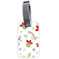 Colorful Floral Wallpaper Background Pattern Luggage Tags (one Side)  by Amaryn4rt