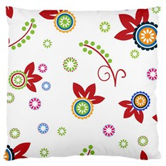 Colorful Floral Wallpaper Background Pattern Large Cushion Case (one Side) by Amaryn4rt