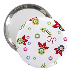 Colorful Floral Wallpaper Background Pattern 3  Handbag Mirrors