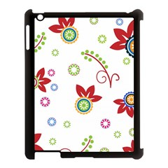 Colorful Floral Wallpaper Background Pattern Apple Ipad 3/4 Case (black) by Amaryn4rt