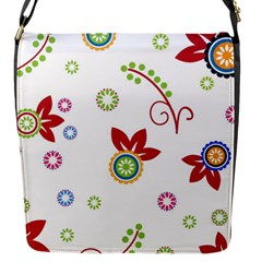 Colorful Floral Wallpaper Background Pattern Flap Messenger Bag (s) by Amaryn4rt