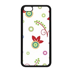 Colorful Floral Wallpaper Background Pattern Apple Iphone 5c Seamless Case (black)