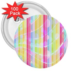 Colorful Abstract Stripes Circles And Waves Wallpaper Background 3  Buttons (100 Pack)  by Amaryn4rt