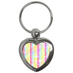 Colorful Abstract Stripes Circles And Waves Wallpaper Background Key Chains (heart)  by Amaryn4rt